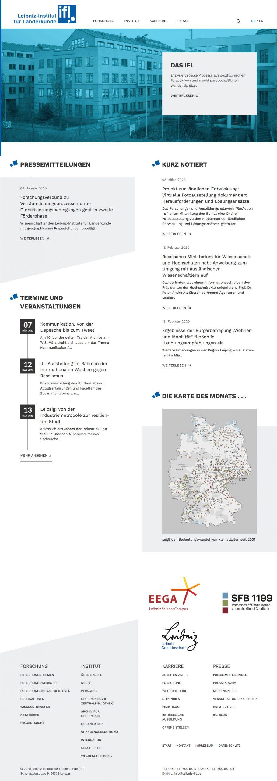 Website des Leibniz-Instituts für Länderkunde e. V. (IfL)