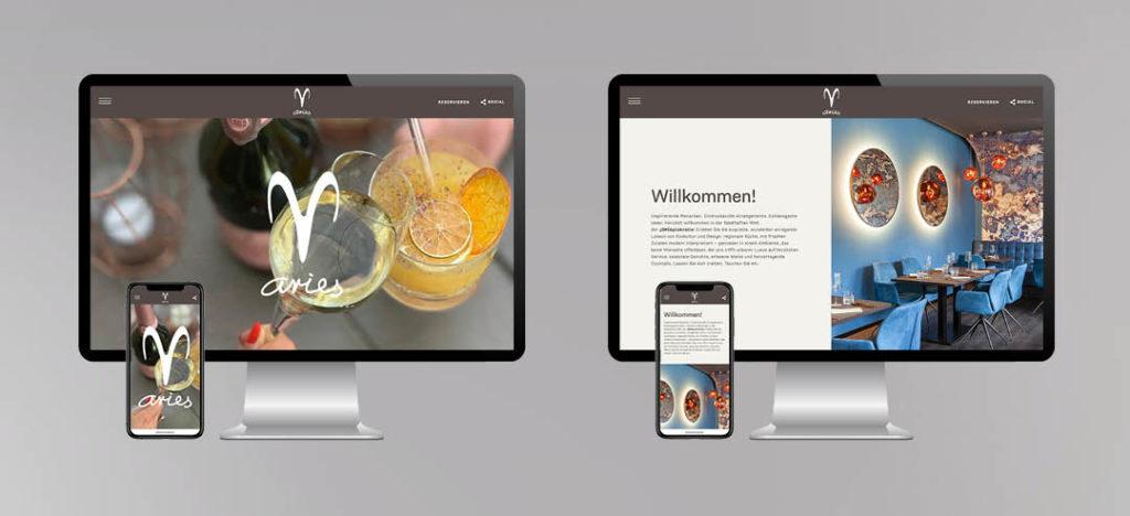 Website des Aries Restaurant